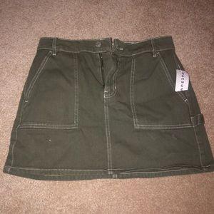 Navy Green Denim Skirt